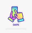 swipe by hand on mobile phone thin line icon vector image