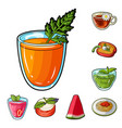 vegetarian dish cartoon icons in set collection vector image vector image