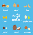 vol 2 nuts and seeds icon set vector image vector image