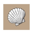 white saltwater scallop sea shell isolated sketch vector image vector image