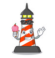 with ice cream cartoon realistic red lighthouse vector image