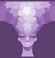womans head with flowers instead of hair vector image