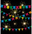 Color pennant bunting collection triangular and vector image