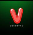 3d playful letter v kids and joy style symbol vector image vector image