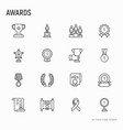 awards thin line icons set vector image vector image