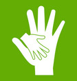 baby and mother hand icon green vector image vector image