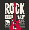 banner for rock party with live music vector image vector image