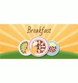 breakfast banner on rising sun background vector image vector image