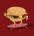 burger skating on longboard vector image vector image