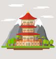 cartoon japanese temple vector image vector image