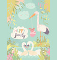 cartoon swans in love and stork with baby vector image vector image