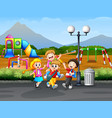 children playing on the road with playground backg vector image vector image