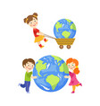 children saving earth planet concept set vector image