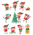 christmas elf santa claus cute fantasy helpers vector image
