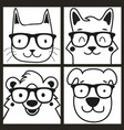 cute black and white posters set with animals vector image