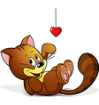 cute cat playing with heart decoration vector image vector image