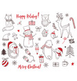 cute christmas animals and elements set vector image