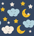 cute star cloud and moon seamless pattern vector image vector image