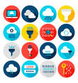 data computing flat icons vector image vector image