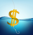 dollar sign in the form of a float and a fishing vector image