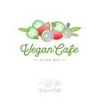 emblem vegan cafe salad green fresh vegetarian vector image