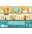 Energy Get Moving Fitness Club flat interior vector image vector image