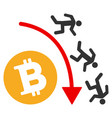 falling bitcoin traders trend flat icon vector image