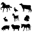 Farm animals silhouette set vector image