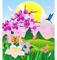 flowering cherry vector image vector image