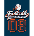 Football league champion on a blue background vector image vector image