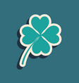 green four leaf clover icon isolated on blue vector image vector image