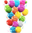 group of colour glossy helium balloons background vector image