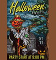halloween night colorful vintage poster vector image vector image