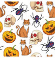 halloween seamless pattern with cat spider and vector image vector image