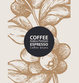 hand-drawn label for coffee beans in retro style vector image