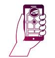 hand holding smartphone car gps navigation vector image vector image