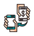 hands with smartphones devices transfer money vector image