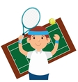happy man tennis court game vector image
