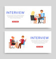 interview inscription on banner set business vector image vector image