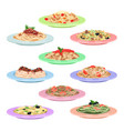 italian pasta set spaghetti dishes on plates vector image