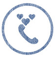 love phone call rounded fabric textured icon vector image vector image