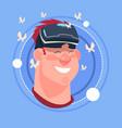 man happy smiling male emoji wearing 3d virtual vector image