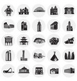 modern and old buildings set on circles background vector image