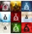 money icon on blurred background vector image vector image