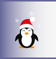 penguin in a santa claus hat icon flat vector image