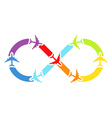 Rainbow airplanes infinity vector image vector image