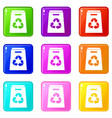 recycle shopping bag set 9 vector image vector image