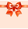 Red bow of silk ribbon isolated on pink background vector image vector image