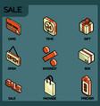 sale color outline isometric icons vector image