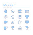 set color line icons soccer vector image vector image